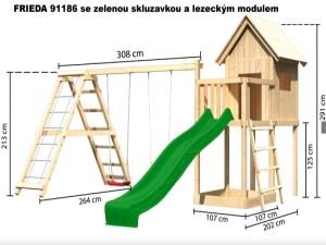 FRIEDA se skluzavkou a lezeckým modulem 91186 dětský domek KARIBU dřevěný domek pro děti jako stavebnice pro stavbu svépomocí