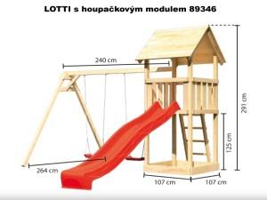 LOTTI se skluzavkou a lezeckým modulem 89350  dětský domek KARIBU dřevěný domek pro děti jako stavebnice pro stavbu svépomocí