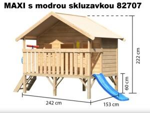 MAXI se skluzavkou 82707 dětský domek KARIBU dřevěný domek pro děti jako stavebnice pro stavbu svépomocí