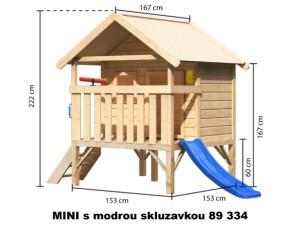MINI se skluzavkou 89334 dětský domek KARIBU dřevěný domek pro děti jako stavebnice pro stavbu svépomocí