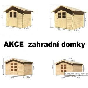 AKCE  na zahradní domky, domky na nářadí dřevěné garáže zahradní domky truhlář Václav HOLOUBEK